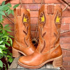 FRYE Vintage Floral Inlay Western Cowboy Boots